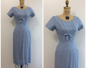 1950s Blue Bow Dress 50s Wiggle Dress