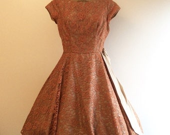 1950s Party Dress 50s Pink Russet Lace Dress