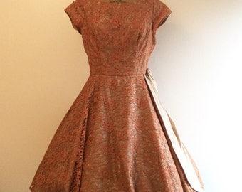 1950s Party Dress 50s Pink Russet Lace Dress