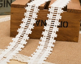 """10 yard 3cm 1.18"""" ivory fabric embroidered tapes lace trim can through 6mm ribbon 117 free ship"""
