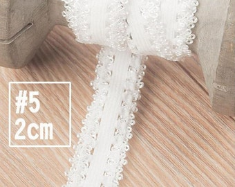20 yard 1.2-2.5cm wide ivory stretch elastic ruffled tapes lace trim ribbon 1324 free ship