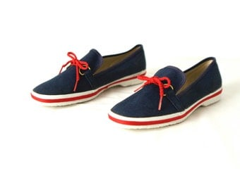 women's Size 7 8 blue & red TOPSIDER sperry SAILING boat DECK shoes