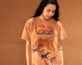 90s DREAMCATCHER Hieroglyph dye slouchy SOUTHWEST t shirt top