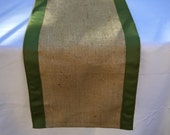 Burlap Table Runner with Moss Green Ribbon, Wedding, Shower, Party, Home Decor, Custom Size and Colors Available
