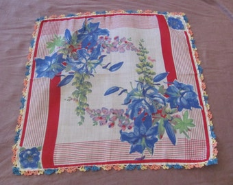 Beautiful Blue Red Floral Cotton Hankie Handkerchief -  - Unused