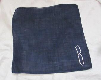 Solid Blue Cotton Hankie Monogrammed B