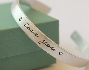 Personalized Bracelet -  Hand Stamped Bracelet - Personalized Cuff Bracelet - Custom Bracelet - Bangle Bracelet - Valentines Day Jewelry -