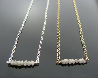 Mini White Raw Rough Diamond 14k Gold Filled or Sterling Silver Necklace
