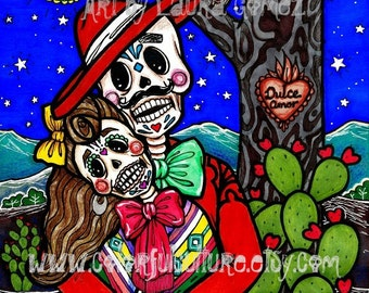 "Dulce Amor / Sweet Love""-Art Print by LAURA GOMEZ- 8""x10"" Or 11x14""-Day of the Dead- Dia de los Muertos-Mexican Art"