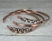 Copper Bangle Set, Wire Wrapped Bangles, Set of Three, Antiqued & Hammered Copper Bangles