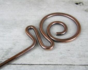 Hammered Copper Hair Stick, Oxidized Copper Hair Stick, Copper Hair Pin