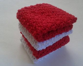 Cloth Pads Reusable, Crocheted Cotton Dishcloths, Washcloths, Set of 4