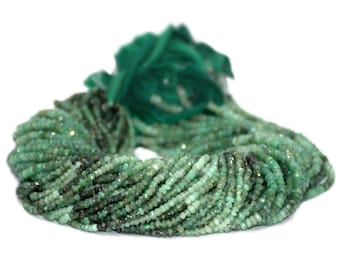 AAA Fine Quality Micro Faceted Gem Stone Beads OF Emerald shades, Size of 3 mm to 3.5 mm and Each Strand is 14 Inches inch in length.