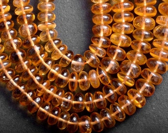 AAA Quality Plain Citrine Rondelle Center Drilled Size 6mm To 8mm Each Strand Of 16 Inches.