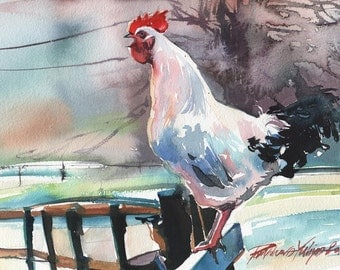 Rooster  Greeting Card 5x7 from my Original Watercolor Painting