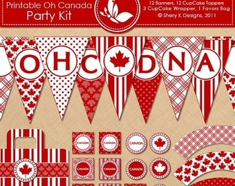 50% Off Printable OH CANADA Party Kit - 12 banners - 12 cupcake toppers - 3 cupcake wrappers - 1 favors bag and 1 font - 300 DPI