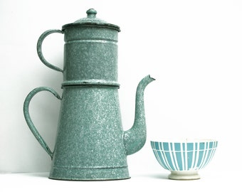 Completed large French Vintage Mint Blue Enamel coffee pot, pastel tea pot, enamelware Home Decor,French Country, Rustic French Decor