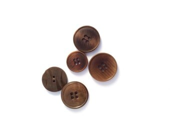 5 Large Brown Buttons, Vintage, Tortoise Buttons
