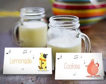 Baby Shower Food Labels    pet printable tags   Food Tents   Gender Neutral   INSTANT DOWNLOAD