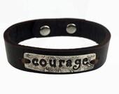 Courage Bracelet - Sterling Silver Inspirational Bracelet - Sterling Silver Cuff Bracelet - Courage Jewelry - Courage Bracelet Silver