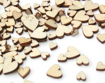 100 Tiny Wooden Hearts . Wedding Confetti . heart confetti rustic wedding decor small wood heart