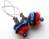 Flower earrings,big hooks,red blue,petal jewelry