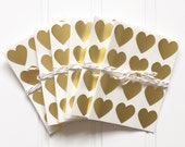 48 Metallic Gold Heart Shaped Label Stickers (.75 inches) - Valentine's Day, Weddings, Labels, Packaging, Gift Wrap, Scrapbooking, etc.