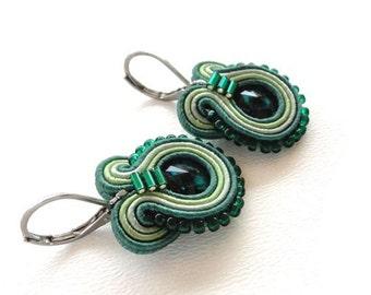 Swarovski Green Earrings Green Drop Earrings Green Swarovski Earrings Swarovski Drop Earrings Soutache Earrings Swarovski Crystal Earrings