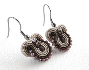 Brown Earrings Brown Dangle Earrings Brown Drop Earrings Pink Dangle Earrings Small Drop Earrings Pink Grey Earrings Soutache Earings