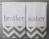 Monogrammed Hand Towels in Grey and White Chevron