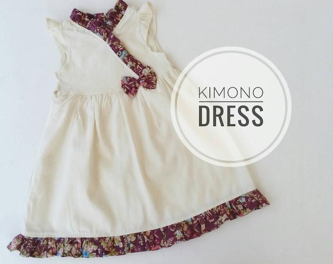 Girl Dress, Cream Dress for toddler and little girls, Toddler Kimono style Dress