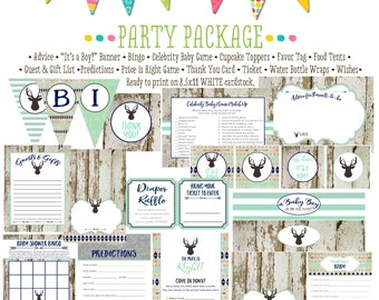 Tribal baby boy arrows item 1238 package AS Is Matching games, ticket, banner, bingo, thank you card, water bottle wraps, cupcake toppers