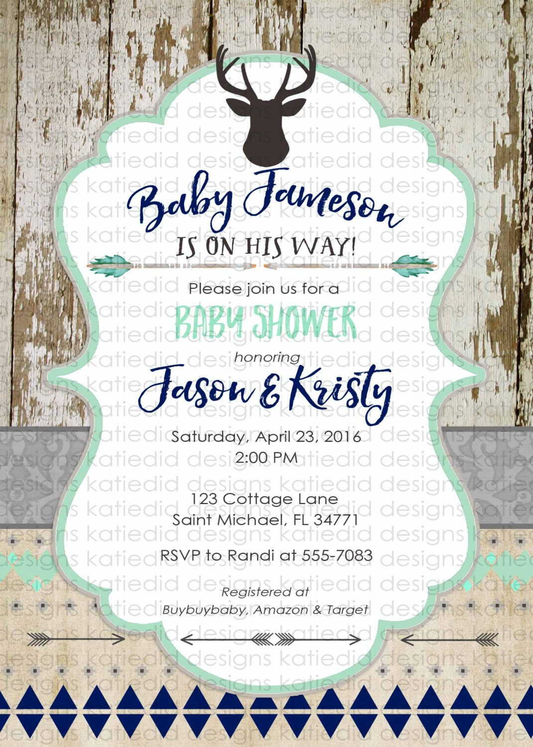Tribal Baby Shower Invitation Boho Chic Bridal Coed Wedding