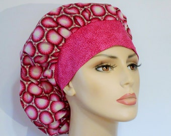 Scrub Hats Medical Bouffant Pink Medallions All Over With A Pink Twiggy Headband Scrub Hat