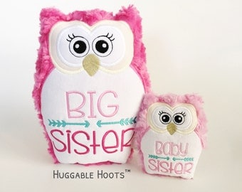 Stuffed Owl Sisters Set - Big & Baby Sister - Plush Owl - Stuffed Animal - Big Sister - Little Sister - Huggable Hoots - New Baby - Siblings