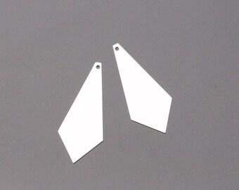 Silver Circle Diamond Shaped Lightweight Pendant, 2 pc, KH914205