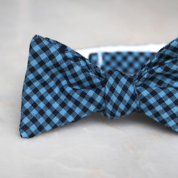 Navy and Blue Gingham Plaid Bow Tie - Self tying - freestyle - Groomsmen gift and ring bearer outfit