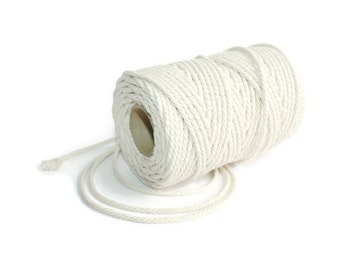 3 mm Cotton Rope = 1 Spool = 50 Meter = 55 Yards Natural and Elegant COTTON Twisted CORD - Macrame cord - Not bleached - No chemicals