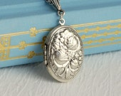 Silver Roses locket necklace, oval floral vintage antique embossed pendant wedding birthday anniversary mothers day gift gifts