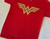 Wonder Woman T Shirt Baby Toddler Girls Red and Gold 6 9 12 18 24 months 2T 3T 4T 5 6 7 costume dress up Super Hero