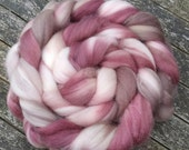 Hand Dyed Superwash BFL Wool Tops, spinning, cherry, chocolate 125g