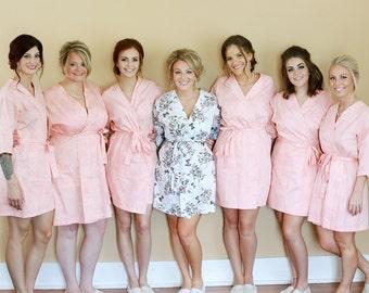 Blush Pink Bridesmaid Robes. Blush Pink Bridesmaids Robe. Pink Blush Kimono Robe. Pink Blush Kimono.  Pink Blush Bridesmaid Pajama Set.