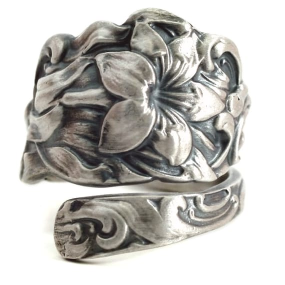 tiger ring sterling silver spoon ring floral ring