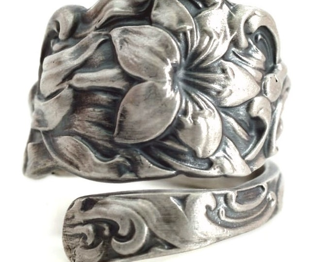 Tiger Lily Ring, Sterling Silver Spoon Ring, Floral Ring, Flower Spoon Ring Handmade Jewelry, Fancy Ring Gift for Her, Custom Ring Size 5447
