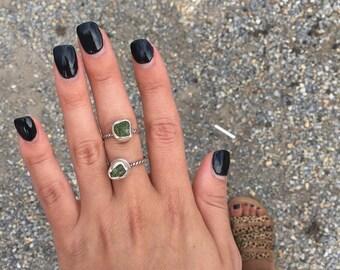 Peridot Ring | Sterling Silver Rustic Peridot Ring | Rustic Raw Peridot Ring | August Birthstone