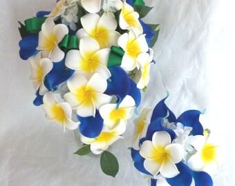 Plumeria and blue calla lily bouquet set with creme white hydrangea