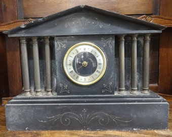 Vintage French Large Heavy Marble Stone Mantlepiece Clock Timepiece Case circa 1850-1900's / English Shop