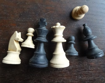Vintage English Wooden Wood Chess Board Game Pieces circa 1950-60's / English Shop