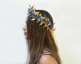 Blue Floral Gold Leaf Crown, Gold Crown, Greek, New Year's Eve Headpiece, NYE Crown, Blue Flower Crown, Flower Crown, Gold Leaf Headpiece