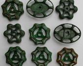 Valve handles- 9 Shabby Chic -Green Patina/Garden Spigot Handles/Free Shipping- Water Knobs-Funky Metal Handles